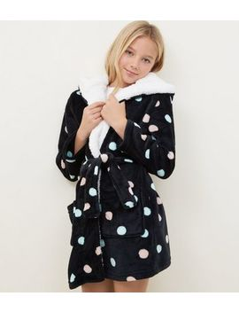 Girls Black Spot Print Borg Lined Robe by New Look