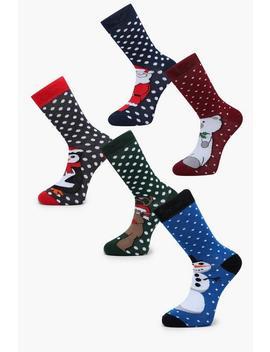 5 Pack Character Christmas Socks by Boohoo