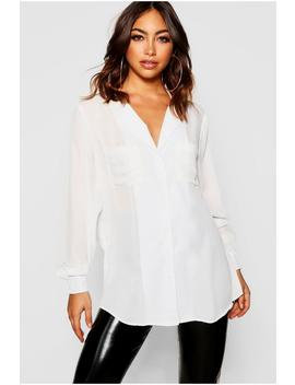 Pocket Detail Collarless Blouse by Boohoo