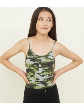 Girls Green Camo Popper Front Bodysuit by New Look
