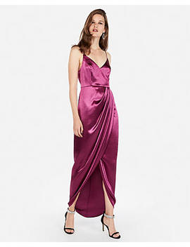 Satin Wrap Front Maxi Dress by Express