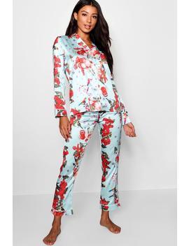Floral Print Satin Pyjamas by Boohoo
