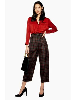 Check Button Peg Trousers by Topshop