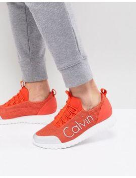 Calvin Klein Ron Sneakers In Orange Mesh by Calvin Klein