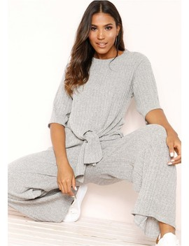 Lisa Grey Knit Ribbed Tie Co Ord Set by Missy Empire