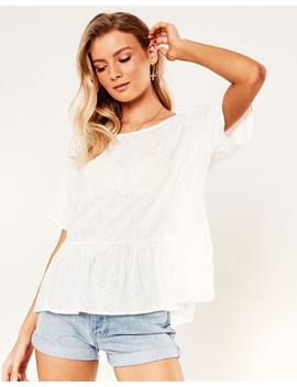 Broderie Peplum Blouse by Glassons