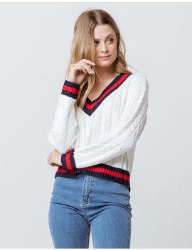 Full Tilt V Neck Collegiate White Womens Sweater by Full Tilt