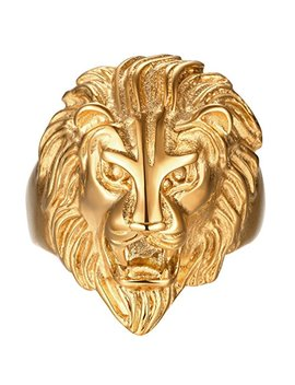 Sainthero Men's Vintage 316 L Stainless Steel Gold Lion Head Rings Heavy Metal Rock Punk Style Gothic Biker Ring Size 7 14 by Sainthero