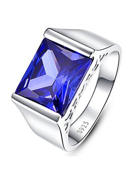 Bonlavie Men's Radiant Cut Created Blue Tanzanite 925 Sterling Silver Ring Wedding Band by Bonlavie