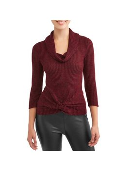 Juniors' Waffle Knit Twist Front Cowl Neck Sweater by No Boundaries