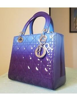 $4,600 Brand New Lady Dior Ombre Blue Purple Gradient Patent Leather Medium Bag by Dior