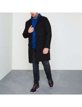 Big And Tall Black Smart Overcoat by River Island