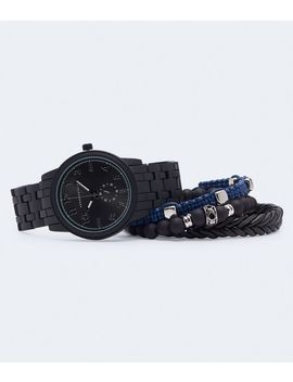 Metal Chrono Analog Watch &Amp; Bracelet Set by Aeropostale