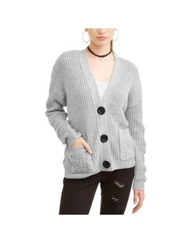 Juniors' Button Down Pocket Front V Neck Cardigan by No Boundaries