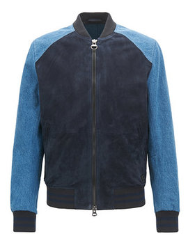 Boss Men's Slim Fit Varsity Leather Jacket by Hugo Boss