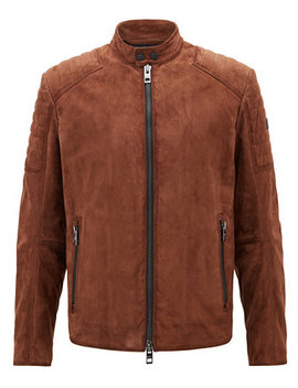 Boss Men's Slim Fit Suede Leather Biker Jacket by Hugo Boss