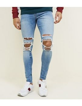 Pale Blue Ripped Knee Skinny Fit Jeans by New Look
