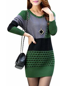 Yasong Women's Long Sleeve Turtleneck Knitted Jumper Dress Sweater by Yasong
