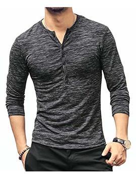 Kuyigo Mens Casual Slim Fit Basic Henley Long Sleeve T Shirt by Kuyigo