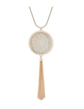 Moloch Long Necklaces For Woman Disk Circle Pendant Necklaces Tassel Fringe Necklace Set Statement Pendant by Moloch