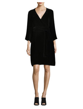 Velvet 3/4 Sleeve Wrap Dress by Eileen Fisher