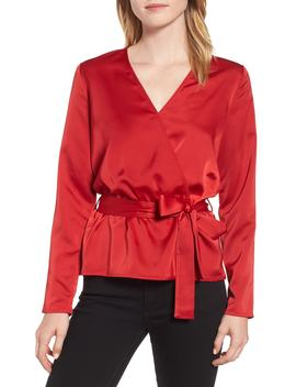 X Glam Squad Faux Wrap Top by Gibson