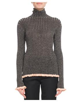 Turtleneck Long Sleeve Metallic Ribbed Knit Sweater by Chloe