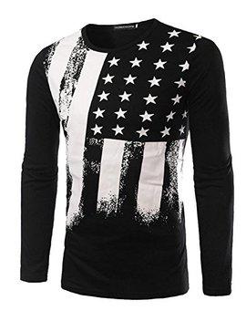 Zawapemia Mens American Flag Printed Long Sleeve Pullover Shirts by Zawapemia