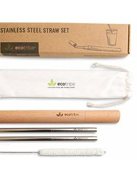 Stainless Steel Reusable Straw Set: 2 Metal Straws + 1 Handcrafted Wooden Case + 1 Cleaning Brush + 1 Pouch, 8.5 Inches Long. The Original, Eco Friendly, Portable Travel Drinking Straw By Ecotribe by Ecotribe