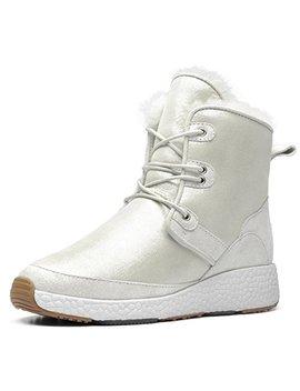 Au&Mu Aumu Women Men Patent Leather Laces Romantic Winter Snow Boots by Au&Mu