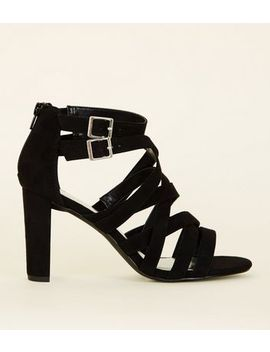 Wide Fit Black Suedette Strappy Block Heels by New Look