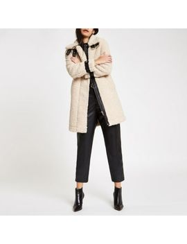 Cream Oversized Shearling Fur Aviator Coat by River Island