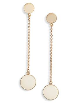 Linear Disc Drop Earrings by Something Navy