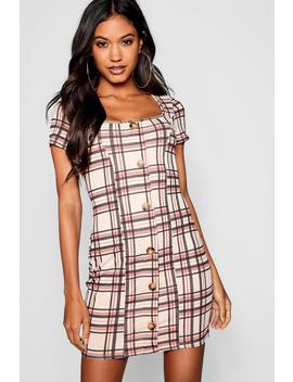 Checked Square Neck Horn Button Mini Dress by Boohoo