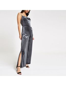 Grey Velvet Cowl Neck Wide Leg Jumpsuit by River Island