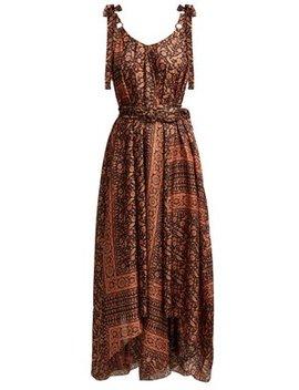 Juniper Scarf Print Silk Midi Dress by Matches Fashion