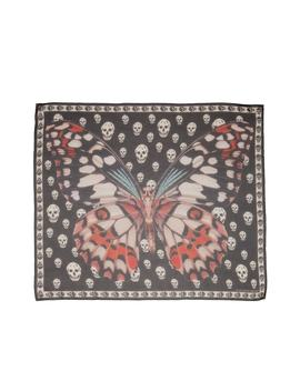 Giant Butterfly & Skull Print Silk Chiffon Scarf by Alexander Mcqueen