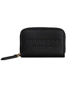 Textured Leather Ziparound Coin Case by Burberry