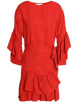 Tiered Ruffled Jacquard Mini Dress by Maje
