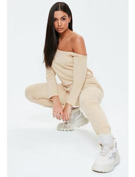 Sand Loopback Off The Shoulder Jumpsuit by Missguided
