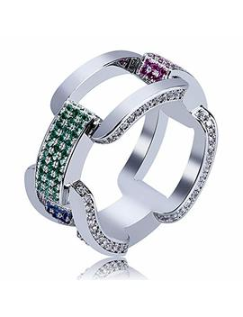 Shiny.U Men's 14 K Gold Plated Cluster Lab Diamond Eternity Band Cz Bling Square Anchor Link Ring Hip Hop by Shiny.U