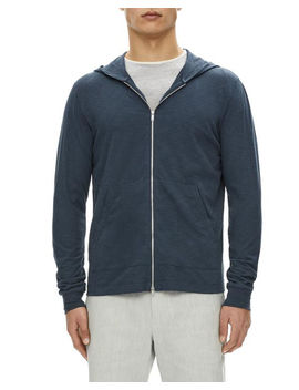 Layer Cosmo Zip Front Cotton Hoodie by Theory