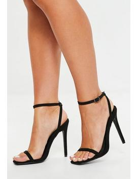 Black Square Toe Skinny Barely There Heels by Missguided