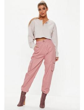 Dusky Pink Plain Cargo Trousers by Missguided