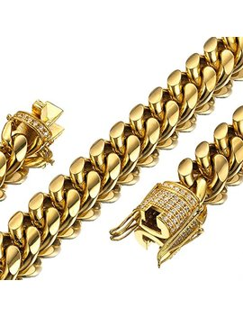 Jxlepe Mens Miami Cuban Link Chain 18 K Gold 15mm Stainless Steel Curb Necklace Cz Diamond Chain Choker by Jxlepe