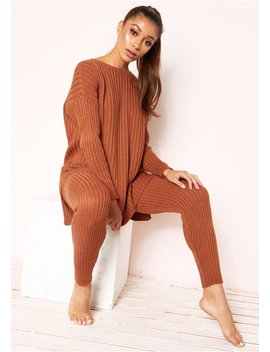 Anya Rust Knit Jumper Loungewear Set by Missy Empire