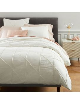 Pleated Grid Duvet Cover + Shams   Ivory by West Elm