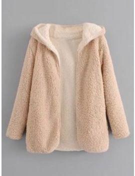 Hooded Open Front Lamb Wool Teddy Coat   Apricot L by Zaful