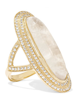 14 Karat Gold, Moonstone And Diamond Ring by Jacquie Aiche