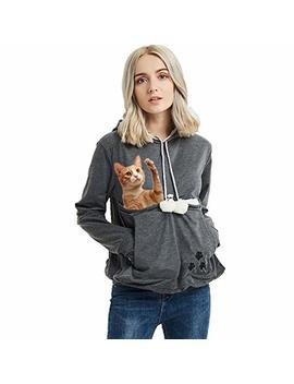 Women Pet Carrier Pullover Long Sleeve Kangaroo Big Pouch Hoodie Sweatshirt by Jomago